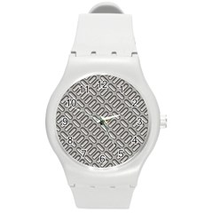 Capsul Another Grey Diamond Metal Texture Round Plastic Sport Watch (m) by Mariart