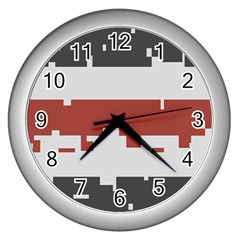 Girl Flags Plaid Red Black Wall Clocks (silver)  by Mariart