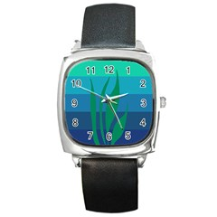 Gender Sea Flags Leaf Square Metal Watch by Mariart