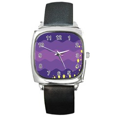 Glimragender Flags Wave Waves Chevron Purple Blue Star Yellow Space Square Metal Watch by Mariart