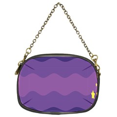 Glimragender Flags Wave Waves Chevron Purple Blue Star Yellow Space Chain Purses (two Sides)  by Mariart