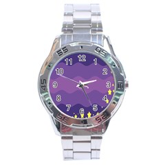 Glimragender Flags Wave Waves Chevron Purple Blue Star Yellow Space Stainless Steel Analogue Watch by Mariart