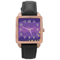 Glimragender Flags Wave Waves Chevron Purple Blue Star Yellow Space Rose Gold Leather Watch  by Mariart