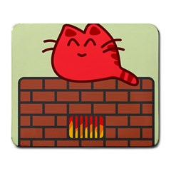 Happy Cat Fire Animals Cute Red Large Mousepads by Mariart