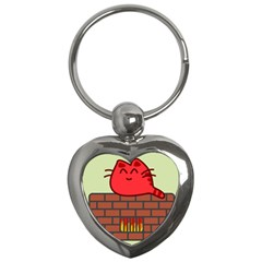 Happy Cat Fire Animals Cute Red Key Chains (heart)  by Mariart