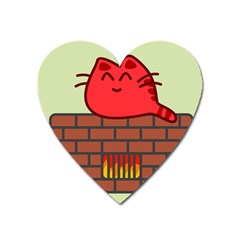 Happy Cat Fire Animals Cute Red Heart Magnet by Mariart