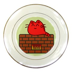 Happy Cat Fire Animals Cute Red Porcelain Plates by Mariart