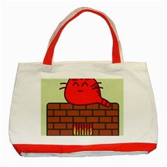 Happy Cat Fire Animals Cute Red Classic Tote Bag (red) by Mariart