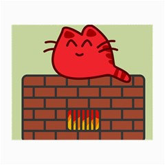 Happy Cat Fire Animals Cute Red Small Glasses Cloth (2 Side) by Mariart