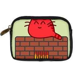 Happy Cat Fire Animals Cute Red Digital Camera Cases by Mariart