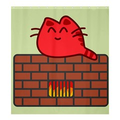 Happy Cat Fire Animals Cute Red Shower Curtain 66  X 72  (large)  by Mariart
