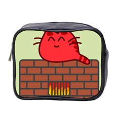 Happy Cat Fire Animals Cute Red Mini Toiletries Bag 2 Side by Mariart