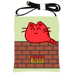 Happy Cat Fire Animals Cute Red Shoulder Sling Bags by Mariart