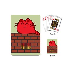 Happy Cat Fire Animals Cute Red Playing Cards (mini)  by Mariart