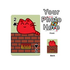 Happy Cat Fire Animals Cute Red Playing Cards 54 (mini)  by Mariart