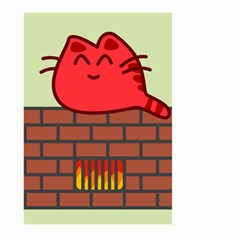 Happy Cat Fire Animals Cute Red Large Garden Flag (two Sides) by Mariart