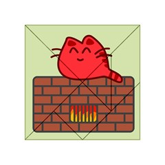Happy Cat Fire Animals Cute Red Acrylic Tangram Puzzle (4  X 4 ) by Mariart