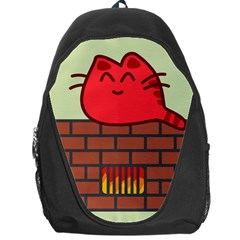 Happy Cat Fire Animals Cute Red Backpack Bag by Mariart
