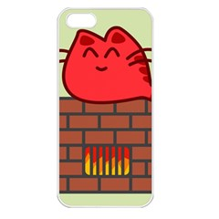 Happy Cat Fire Animals Cute Red Apple Iphone 5 Seamless Case (white) by Mariart