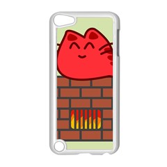 Happy Cat Fire Animals Cute Red Apple Ipod Touch 5 Case (white) by Mariart
