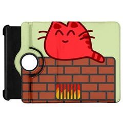 Happy Cat Fire Animals Cute Red Kindle Fire Hd 7  by Mariart
