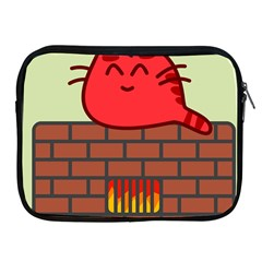 Happy Cat Fire Animals Cute Red Apple Ipad 2/3/4 Zipper Cases by Mariart