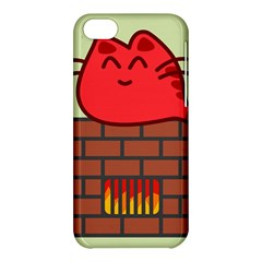 Happy Cat Fire Animals Cute Red Apple Iphone 5c Hardshell Case by Mariart