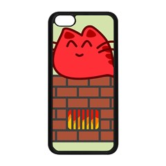 Happy Cat Fire Animals Cute Red Apple Iphone 5c Seamless Case (black) by Mariart