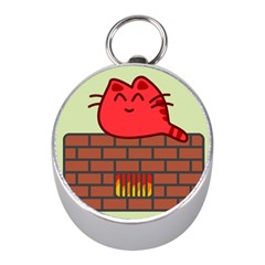 Happy Cat Fire Animals Cute Red Mini Silver Compasses by Mariart