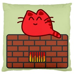 Happy Cat Fire Animals Cute Red Large Flano Cushion Case (two Sides) by Mariart
