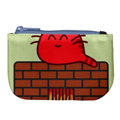 Happy Cat Fire Animals Cute Red Large Coin Purse by Mariart