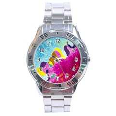 Fabric Rainbow Stainless Steel Analogue Watch by Mariart