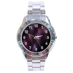 Light Lines Purple Black Stainless Steel Analogue Watch by Mariart