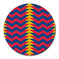 Lllustration Geometric Red Blue Yellow Chevron Wave Line Round Mousepads by Mariart
