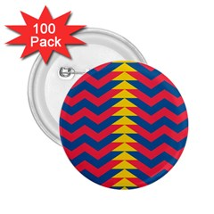 Lllustration Geometric Red Blue Yellow Chevron Wave Line 2 25  Buttons (100 Pack)  by Mariart