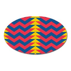 Lllustration Geometric Red Blue Yellow Chevron Wave Line Oval Magnet by Mariart