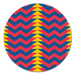 Lllustration Geometric Red Blue Yellow Chevron Wave Line Magnet 5  (round) by Mariart