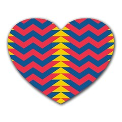 Lllustration Geometric Red Blue Yellow Chevron Wave Line Heart Mousepads by Mariart