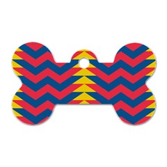 Lllustration Geometric Red Blue Yellow Chevron Wave Line Dog Tag Bone (two Sides) by Mariart