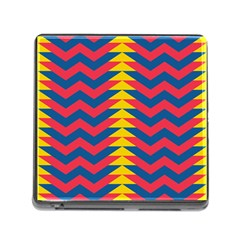 Lllustration Geometric Red Blue Yellow Chevron Wave Line Memory Card Reader (square) by Mariart