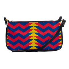 Lllustration Geometric Red Blue Yellow Chevron Wave Line Shoulder Clutch Bags by Mariart
