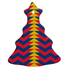 Lllustration Geometric Red Blue Yellow Chevron Wave Line Ornament (christmas Tree)  by Mariart