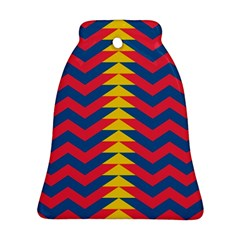 Lllustration Geometric Red Blue Yellow Chevron Wave Line Bell Ornament (two Sides) by Mariart