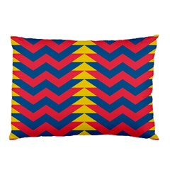 Lllustration Geometric Red Blue Yellow Chevron Wave Line Pillow Case (two Sides) by Mariart