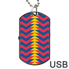 Lllustration Geometric Red Blue Yellow Chevron Wave Line Dog Tag Usb Flash (one Side) by Mariart