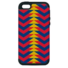 Lllustration Geometric Red Blue Yellow Chevron Wave Line Apple Iphone 5 Hardshell Case (pc+silicone) by Mariart
