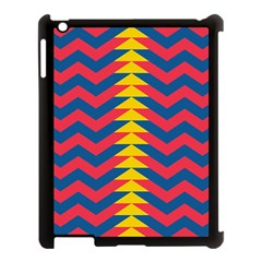 Lllustration Geometric Red Blue Yellow Chevron Wave Line Apple Ipad 3/4 Case (black) by Mariart