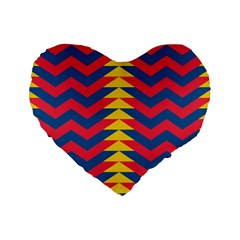 Lllustration Geometric Red Blue Yellow Chevron Wave Line Standard 16  Premium Heart Shape Cushions by Mariart
