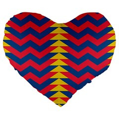Lllustration Geometric Red Blue Yellow Chevron Wave Line Large 19  Premium Heart Shape Cushions by Mariart