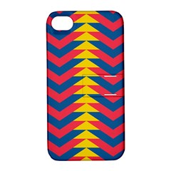 Lllustration Geometric Red Blue Yellow Chevron Wave Line Apple Iphone 4/4s Hardshell Case With Stand by Mariart